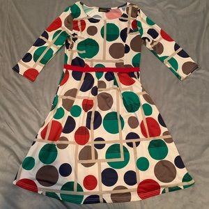 Reborn Cream Circle Print Dress EUC Size L